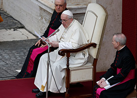 Pope Francis reads statement at general audience
