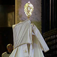Pope Francis holds a monstrance
