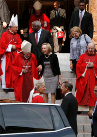Cardinal Wuerl speaks with U.S. Supreme Court Chief Justice John Roberts following annual Red Mass at Washington cathedral Cardinal Donald W. Wuerl of Washington, bottom row, left, speaks with U.S. Chief Justice John Roberts following the annual Red Mass Oct. 6 at the Cathedral of St. Matthew the Apostle in Washington. Also pictured are, at top left, Archbishop Timothy P. Br oglio of the U.S. Archdiocese for the Military Services and Supreme Court Justice Clarence Thomas (in the red tie), and below them are Cardinal Theodore E. McCarrick, retired archbishop of Washington, with Roberts wife, Jane Sullivan Roberts. (CNS photo/ Jonathan Ernst, Reuters) (