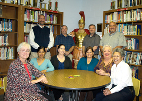 Standing:   Brent Pfaff,  Todd Boyles,   Chris Patterson,   Mel Perez; Seated:   Principal Mary Ellen Doskocil,  Martha Zavala,  Julie Valdez,  Terry Luna,  Fleet Rine and Marie Brown.