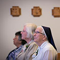 From left: Sister Gabriela Martinez, Sister Mary Dorothy Powers, and Sister Mary Jean Warmuth listen as Bishop Michael Olson delivers the homily during  Mass for the 65th anniversary of vows of five sisters to the Sisters of Saint Mary of Namur, September 15, 2019. (NTC/Rodger Mallison)