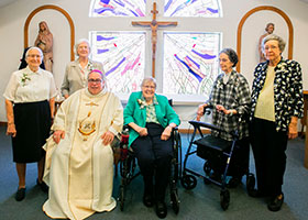 From left: Sister Mary Jean Warmuth, Sister Mary Dorothy Powers, Bishop Michael Olson, Sister Mary Elaine Breen, Sister Joan Markey, and Sister Jane Conway pose after Bishop Olson celebrated Mass for the 65th anniversary of their vows to the Sisters of Saint Mary of Namur, Sunday, September 15, 2019.