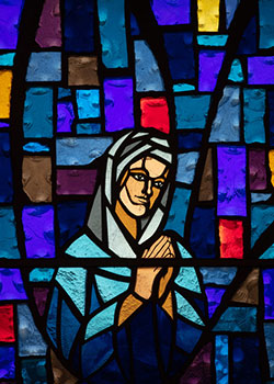 stained glass of Mary