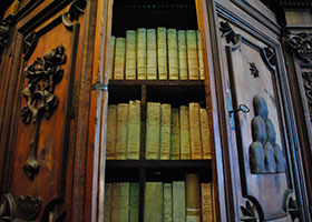 Books are pictured in a cabinet in the Vatican Apostolic Archives.