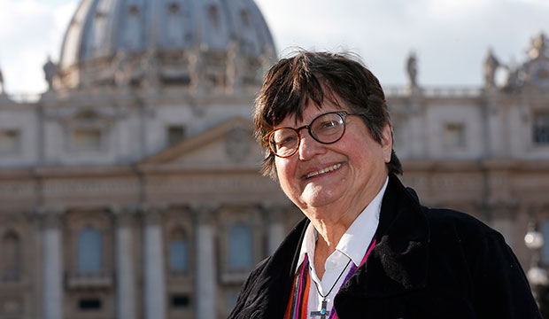 Sister Helen Prejean, a Sister of St. Joseph of Medaille, who has worked in prison ministry and against the death penalty for decades, is pictured in St. Peter's Square at the Vatican Jan. 21, 2016. (CNS photo/Paul Haring)