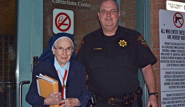 Sister Frances Vuillemin with Officer Green