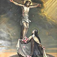 Saint Therese of Lisieux adoring Jesus Christ Crucified; stthereseministry.com