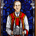 Stained glass window of Fr. Guyot