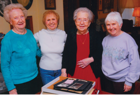 Theresa Vann (Center) is flanked by her beloved cousins (L. to R.) Mary Staley, Rita Whitaker, and Mary Alice Owen.