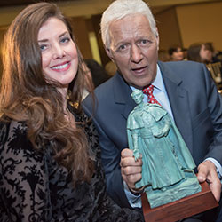 """Jeopardy"" host Alex Trebek and his wife, Jean, pose after receiving Fordham University's Founders' Award at a Jan. 7, 2020, reception at Bel-Air Country Club in Los Angeles."