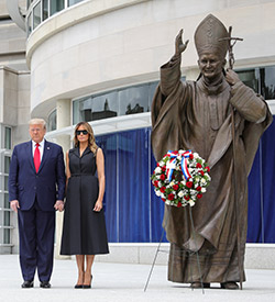 U.S. President Donald Trump and first lady Melania Trump pose during a visit to the St. John Paul II National Shrine in Washington June 2, 2020, the 41st anniversary of beginning of pope's 1979 historic visit to Poland. (CNS photo/Tom Brenner, Reuters)