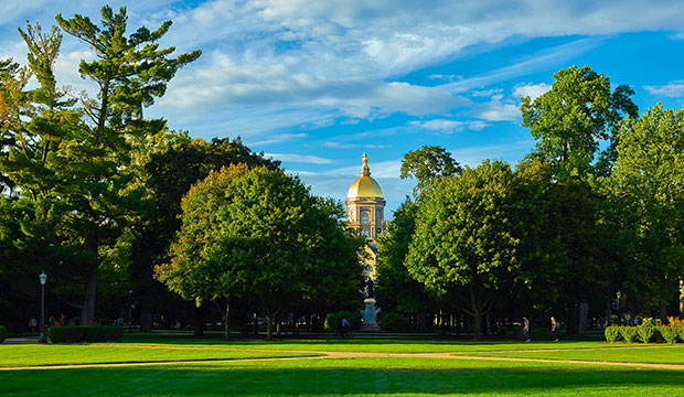 Golden dome at University of Notre Dame