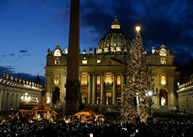 The Christmas tree sparkles after a lighting ceremony in St. Peter's Square at the Vatican Dec. 5, 2019