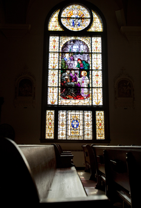 A window in the nave of St. Mary's depicting the finding of Jesus in the temple. St. Mary of the Assumption Church had all its stained glass windows restored and re-installed. The project cost nearly half a million dollars and 11 years of saving and planning.