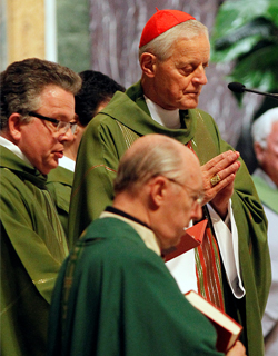 Cardinal Donald W. Wuerl of Washington celebrates a Mass for consolation and healing at St. Matthew's Cathedral Sept. 17, a day after a deadly shooting spree at the Navy Yard in Washington. Authorities said 13 people were killed, including the gunman, an d at least eight were injured at the facility, which is the Naval Sea Systems Command headquarters. (CNS photo /Bob Roller)