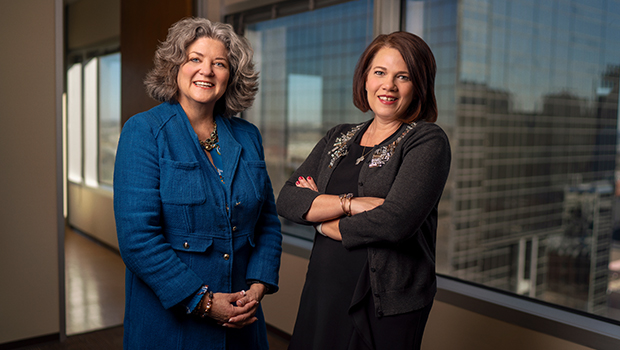 Renee Underwood (left) and Kristy Webb are seen in the downtown offices of the Advancement Foundation. Underwood is the foundation's new Chief Development Officer and Webb is Director of Catholic School Development. (NTC/Juan Guajardo)