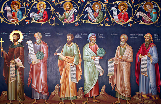 Saints stand in a row in this Greek fresco painting.