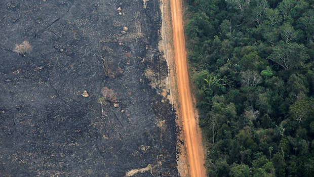 "An aerial view shows a deforested plot of the Amazon near Porto Velho, Brazil, Sept. 17, 2019. Brazilian Cardinal Claudio Hummes, relator general of the Synod of Bishops for the Amazon, and other synod participants promised to defend the Amazon rainforest and promote an ""integral ecology"" of care for people and for the Earth. (CNS photo/Bruno Kelly, Reuters)"