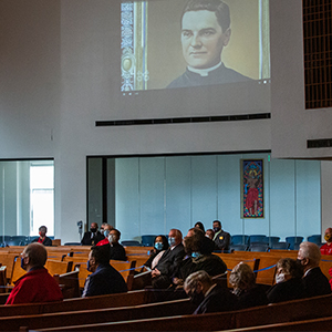 Knights of Columbus from across the diocese watch the beatification Mass of Father Michael McGivney, the organization's founder, on October 31, 2020. (NTC/Rodger Mallison)