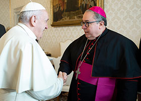 Pope Francis with Bishop Olson Jan 20 2020