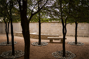 A view of the columbarium at Good Shepherd Catholic Church in Colleyville on Oct. 29, 2020. A columbarium is a group of niches, typically within a wall of stone, that contains the cremated remains of the faithful departed. (NTC/Juan Guajardo)