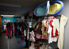 "The Cassata Closet, expanded in 2012 with the help of Cassata volunteer Tracy Rector, the Pink Hanger boutique in Colleyville, and diocesan nurse Nancy Eder, is an attractive ""shopping space"""