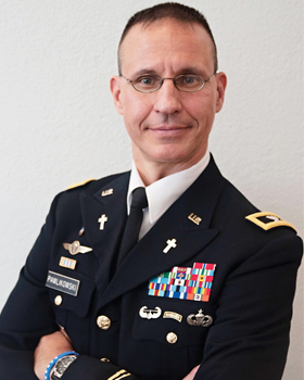 Father Matthew Pawlikowski, who is the deputy command chaplain for the 21st Theater Sustainment Command in the U.S. Army Reserve, is pictured in a late September photo. On active duty as an Army chaplain since the summer of 2000, Father Pawlikowski has b een serving members of the military as a chaplain since he was a student at Immaculate Conception Seminary at Seton Hall University in New Jersey. (CNS photo/Jenna Teter, The Texas Catholic)