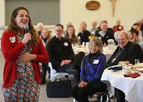 Alonna Mertz talks about her experience of turning away from abortion to giving birth to her twins at the Champions for Life awards luncheon Oct. 31, 2019, at the Church of St. Peter in Mendota, Minn.