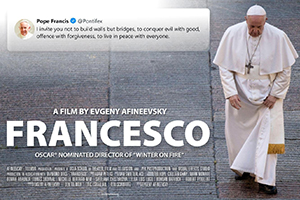 "A poster for the new film, ""Francesco,"" by documentary filmmaker Evgeny Afineevsky, shows Pope Francis walking in St. Peter's Square at the Vatican. (CNS photo/Afineevsky-Tolmar Production)"