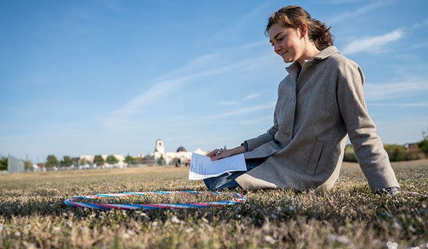 Katie Tweedel and other teachers from across the diocese participated in an outdoor learning exercise during a November teacher formation day at St. Elizabeth Ann Seton Catholic School. (NTC/Juan Guajardo)
