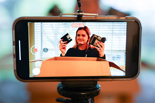 Nolan High School teacher Anna Engelland creates a video showcasing historical cameras for her photography students. (NTC/Anna Engelland)