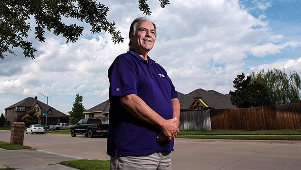 "Liver transplant recipient Ron Holton, 65, stands outside of his home in Burleson, Sept. 15, 2020. Holton, a lifelong parishioner of Holy Family Church, received a liver transplant Sept. 7, 2018 and credits his recovery to ""family, faith, and prayer."" (NTC/Ben Torres)"