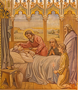 A fresco scene depicts one of the Apostles giving Viaticum to a dying man. (Leopold Bruckner circa late 1800s)