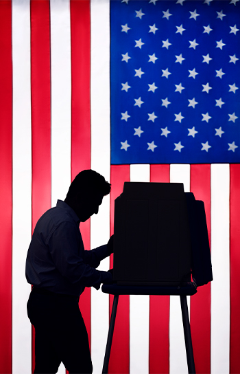 voter in front of american flag