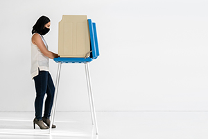voter at a voting booth