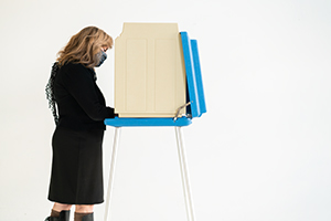 Voter at voting machine