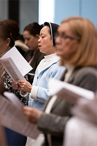 Sister Mary Catherine Do, of the Dominican Sisters of Mary Immaculate Province, reads a prayer response during Diocesan Formation Day at St. Andrew Parish. (NTC/Jayme Donahue)