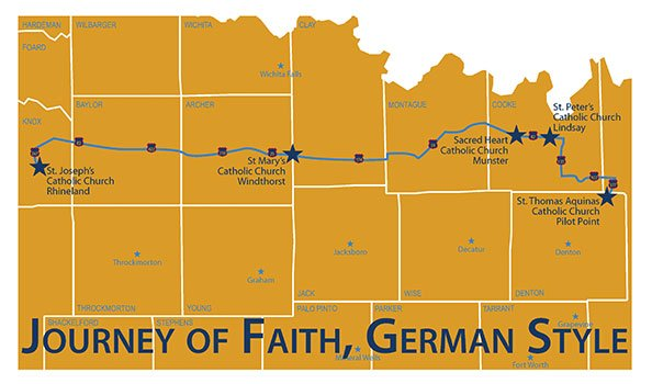 To personally experience the German heritage of the towns and parishes discussed in this article, consider a weekend pilgrimage to these communities, all within the Diocese of Fort Worth.