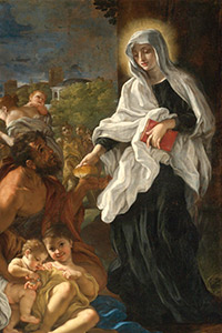 Frances of Rome giving alms; painting in Getty museum, Los Angeles