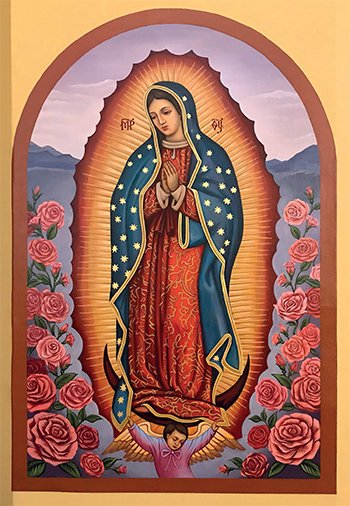This icon of Our Lady of Guadalupe is in St. Mary Parish in Whiting, Ind. It is the first parish in the Eparchy of Parma, Ohio, to commission an icon of Our Lady of Guadalupe. It was painted last year by iconographer Christine Uveges. (CNS photo/Laura Ieraci, Horizons)