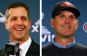 "Baltimore Ravens head coach John Harbaugh and his brother, San Francisco 49ers head coach Jim Harbaugh, are pictured in a combination photo in late January. For Jack Harbaugh and his wife, Jackie, the upcoming rematch between their sons at the Feb. 3 Sup er Bowl in New Orleans means they are bracing for the ""thrill of victory"" and the ""agony of defeat."" (CNS photo/Jeff Haynes, Reuters)"