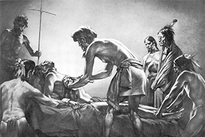 Cabeza de Vaca performs the first recorded surgical operation in North America in 1535 in this painting by Tom Lea. (Courtesy Moody Medical Library, UT Medical Branch, Galveston)