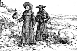 Franciscan missionaries travel across the American Southwest. The friars tended to the needs of the sick at the missions they established.