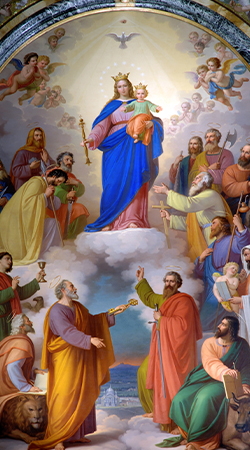A painting of Mary Help of Christians in the Basilica of Our Lady Help of Christians in Turin, Italy