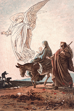 Joseph, Mary, and the Child Jesus flee into Egypt.