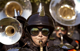 Laura Durr plays saxophone during the Father Ryan High School Marching Band's recent competition in late September in Nashville, Tenn. The Nashville band's success over a number of years has lead to an invitation to participate in the Macy's Thanksgi ving Day Parade in New York City. (CNS photo/Rick Musacchio, Tennessee Register
