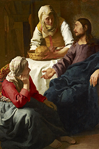 Martha serves Jesus and Mary