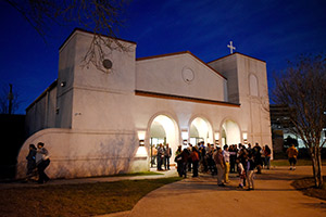 Faithful process out of San Mateo Chapel of Ease after evening Mass, Sunday March 1, 2020 in Fort Worth. (NTC/Ben Torres)