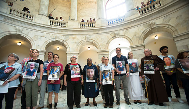 "Catholic leaders and advocates protest the Trump administration's handling of detained immigrant children during a ""Catholic Day of Action for Immigrant Children"" July 18, 2019, in the Russell Senate Office Building in Washington. (CNS photo/Tyler Orsburn)"