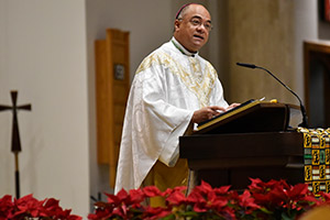 Bishop Shelton Fabre of Houma-Thibodaux delivers his homily during the annual Dr. Martin Luther King, Jr. Diocesan Memorial Mass Jan. 11 at St. Joseph Parish in Arlington. (NTC/Ben Torres)